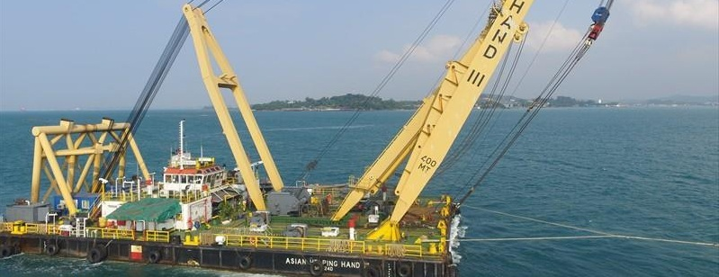 50 Meter Length  Floating Crane Barge
